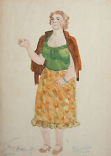Vintage WC Painting Woman Costume design signed