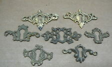 LOT of 7 ANTIQUE CAST BRASS KEYHOLE COVERS ESCUTCHEONS - ORNATE OPENWORK - #13