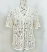 Womens Crochet Top Boho Floral Button Front Short Sleeve fit Size 12 - 14