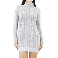 Grey jumper Dress Polo Neck Cable Knit Long Sleeve Womens Ladies Sweater Stretch