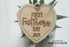 **FATHERS DAY** Wooden Laser Engraved Keyring Gift - First Fathers Day 2021.