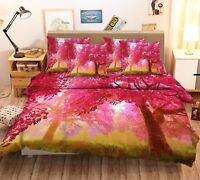 3D Red Trees 021 Bed Pillowcases Quilt Duvet Cover Set Single Queen King Size AU