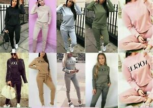 Womens Ladies Long Sleeve Plain Lounge Wear Casual Comfy Two Piece Tracksuit Set