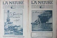 2 REVUES LA NATURE de 1918  LA GUERRE NAVALE EN 1917 MARINE BATAILLE SOUS MARIN
