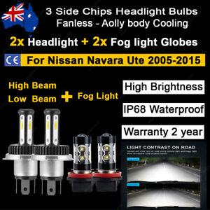 For Nissan Navara 2008 2009 4x Headlight Fog light Globes High low beam LED Bulb