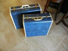 2 Vintage Samsonite Suit Cases #4760+4761 Blue Marble Hard Shell, Linings Intact