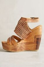 Anthropologie Bed Stu Petra Wooden Clog Wedge Leather Sandals Sz 11