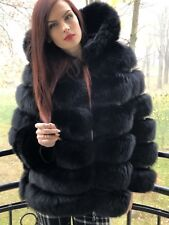 Black fox fur hooded coat. Medium.SagaFox.