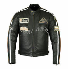Chaqueta Con PArches, Cuero, Moto, Leather Jacket, Vintage, Negro , Talla 2XL