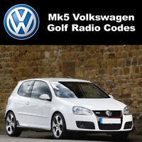 Código de radio VW Volkswagen pin stereo códigos de desbloqueoRCD 310 300 200 210 215