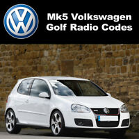 VW MK5 Golf Radio Code Unlock Stereo Codes PIN | For RCD 310 300 200 210 215