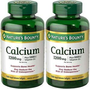 [2-Pack] Nature's Bounty Calcium 1200 Mg. Plus Vitamin D3, 240 Softgels (2 X...