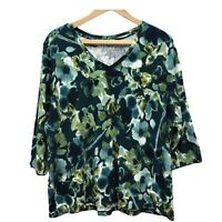 St John's Bay Knit Top Women's Plus 2X Teal Floral 3/4 Sleeve V-Neck Cotton