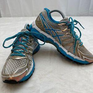 Asics Gel Kayano 20 T3N7N Women's Running Shoes Size 7.5 US White/Blue/Gold