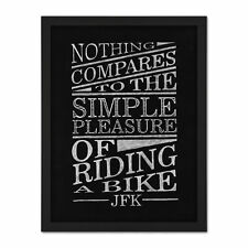 More details for jfk nothing compares to riding a bike framed wall art print 18x24 in