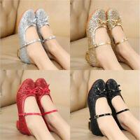 New Womens Pumps  Bow Glitter Ladies Ballet Ballerina Bridal Shoe Size 4-9