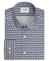 T.M.Lewin Mens Premium Liberty Fabric Grenada Print Blue Single Cuff Shirt