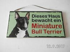 Türschild Miniature Bull Terrier, Tierschild Hund aus Holz, Holzschild
