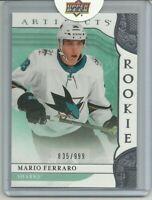 2019-20 Artifacts Rookie Redemption Red204 Mario Ferraro 835/999 San Jose Sharks