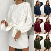 Women Long Sleeve Bandage Mini Dress Sweatshirt Pullover Jumper Casual Long Tops