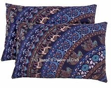 2Pc Cotton Elephant Mandala Standard Pillow Case Cushion Cover Indian Ethnic Art