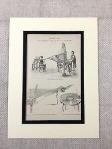 1880 Print Victorian Music Printing Machine Composing Invention Antique Original