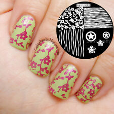 Qgirl-016 Star Wave Flower Pattern Nail Art Image Stamping Plate Stamp Stencil