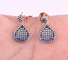 DROPS AMETHYST ROSE GOLD COLORED OVER .925 STERLING SILVER EARRINGS #20655