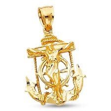 Jesus Cross Mariner Pendant Solid 14k Yellow Gold Crucifix Anchor Charm Fancy