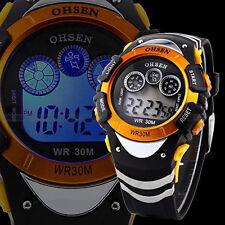 Cool Boys Children Outdoor LED Digital Stopwatch Alarm Sports Wrist Watch Yellow