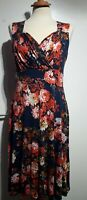 Lindy Bop Bridget Dress Floral Print Blue Orange Size 12 UK Sleeveless