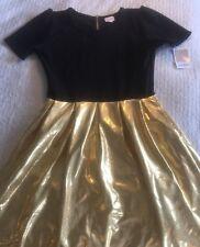 New LuLaRoe Elegant Amelia Party Dress - Black w/ Shiny Gold Skirt - Pockets! XL