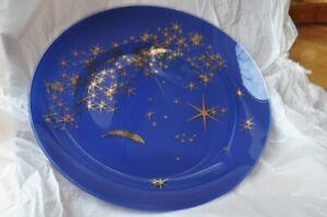 Teller Glas blau mit goldenen Sternen 31cm
