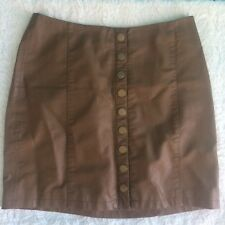 9196ff562 FREE PEOPLE OH SNAP VEGAN FAUX LEATHER MINI SKIRT~SNAP FRONT~ Women's Size 6