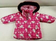 HELLO KITTY Printed Plaid Jacket Coat Puffer Hoodie Faux Fur Toddler Girls 2T