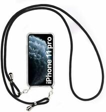 2 IN 1 Transparent Phone Case For iPhone 11 Pro + Adjustable Detachable Lanyard