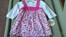 NEW Baby Girl Dress Pink 6 Month size | hearts and flowers | 2 piece