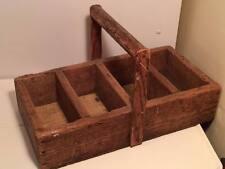 Antique wooden folk art basket tote