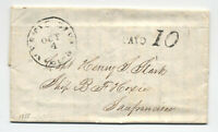 1855 Mystic River CT paid 10 rate stampless to California [5221]