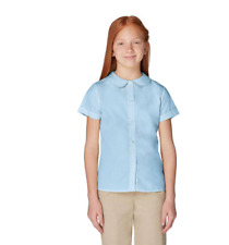 French Toast Girls' Woven Uniform Blouse with Peter Pan Collar - Blue sz8