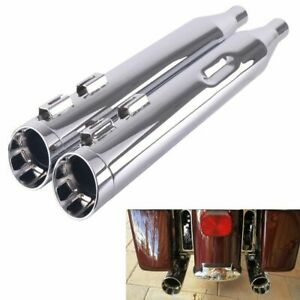 """4"""" Chrome Slip On Mufflers For Harley Touring Road King Exhaust Pipes 1995-2016"""