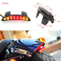 Red Led Motorcycle Turn Signals Tail Light Smoke Cafe Racer Rear Fender Edge US