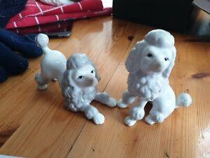 John Jenkins Porcelain poodkes Dog Ornaments x 2