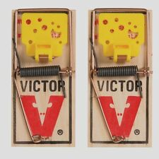 **2 Pk** VICTOR Easy Set Mouse Snap Trap w/ Cheese Kills Mice Wood Base M035