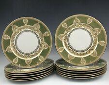 New Listing12 Limoges France Bernardaud Co B&Co Green Gold Gilt Porcelain Dinner Plates Ald