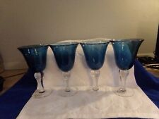 """Corsica Home Dinnerware Set of 4 Wine Goblets Water Glass Blue 8"""""""