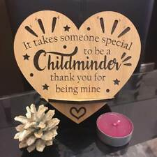 PERSONALISED ENGRAVED WOODEN HEART PLAQUE CHILDMINDER THANK YOU GIFT
