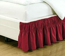 Grand Linen Wrap Around Sage Green Ruffled Elastic Solid Bed Skirt Fits Twin/Twi
