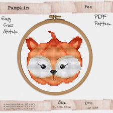 Pumpkin Fox Cross stitch PDF digital Pattern Halloween Embroidery #285