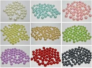 1000 Half Pearl Beads 6mm FlatBack Cabachons Scrapbook Colour for Choice